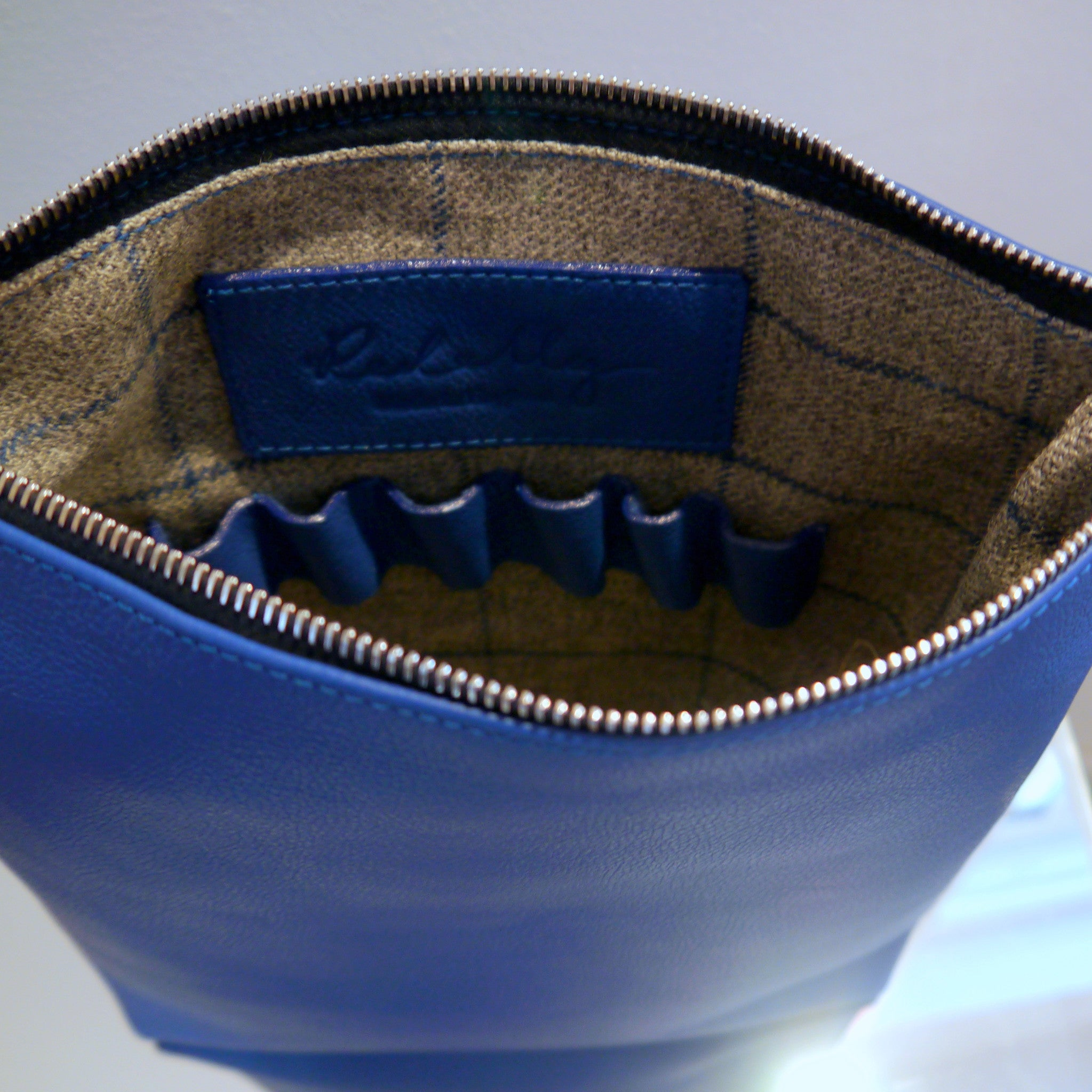 S/S 15 Poppy Leather Make Up Bag in royal blue - Large
