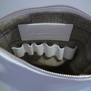 S/S 15 Poppy Leather Make Up Bag in brilliant white - Large