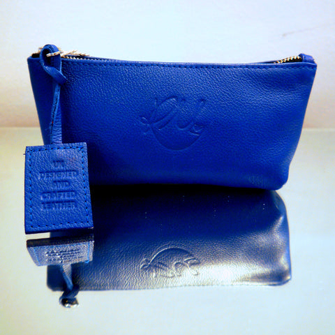 S/S15 Poppy Leather Make Up Bag in Royal Blue - Small