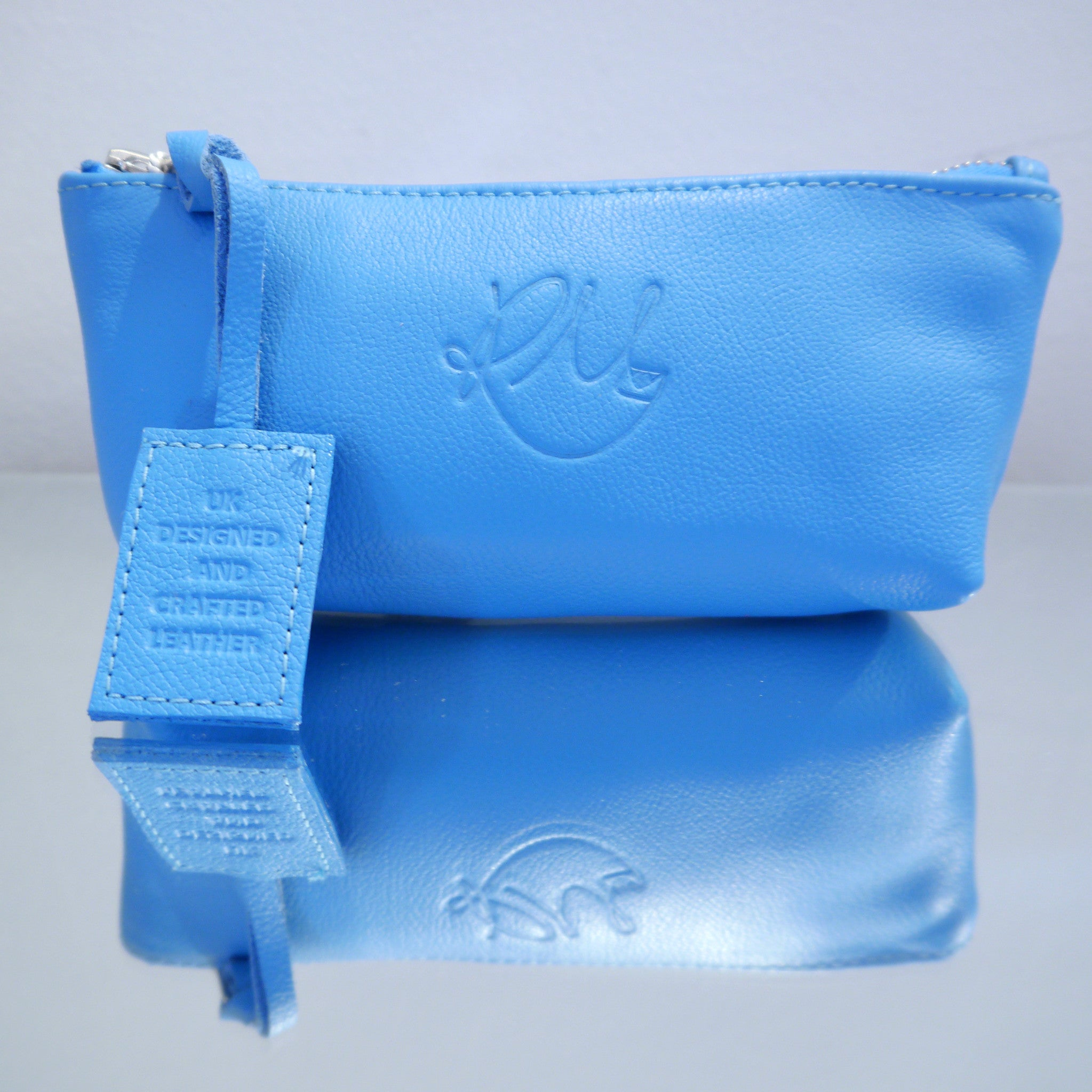 S/S15 Poppy Leather Make Up Bag in Powder Blue - Small