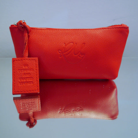 S/S15 Poppy Leather Make Up Bag in vibrant red - Small