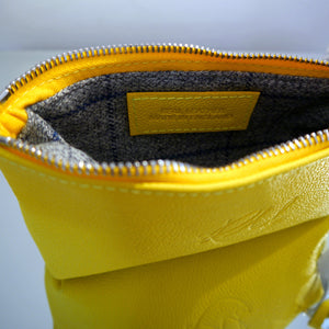 S/S15 Poppy Leather Make Up Bag in bright yellow - Small