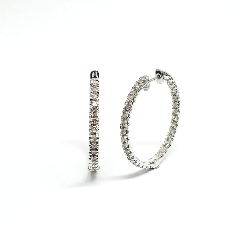Diamond French Pave Inside Out Hoop Earrings