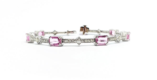 Pink Sapphire and Pave Diamond Stationed  Bracelet
