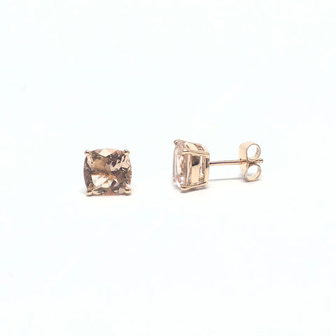 CUSHION CHECKERBOARD MORGANITE STUDS