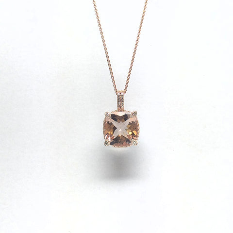Morganite And Diamond  Pave Pendant set with 14k Rose gold
