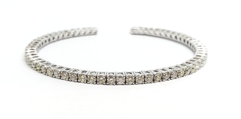 Diamond Open Bar Flex White Gold Bangle