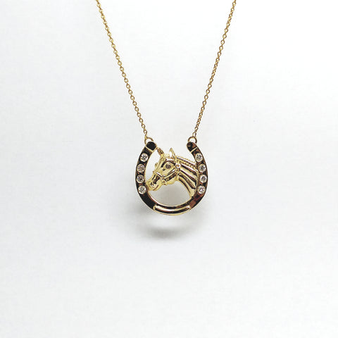 Diamond Horseshoe with Horse Pendant in Yellow Gold