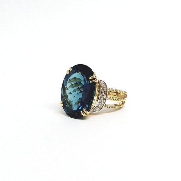 Ring with Hampton Blue Topaz and Diamonds