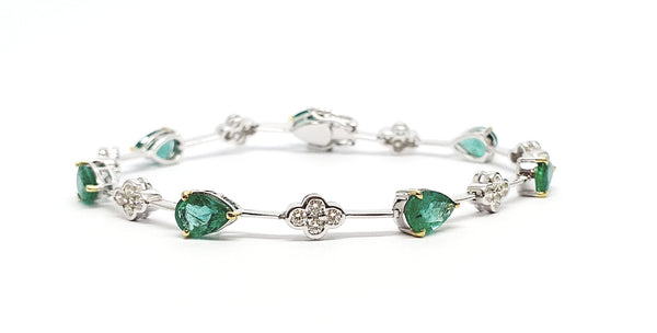 Alternating Size Emerald and Diamond Bracelet in 14k White Gold AD.NO-2023