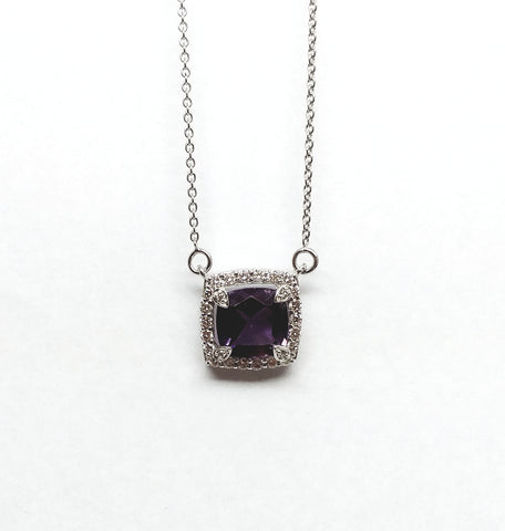 CUSHION CUT AMETHYST AND DIAMOND PENDANT AD NO: 2071