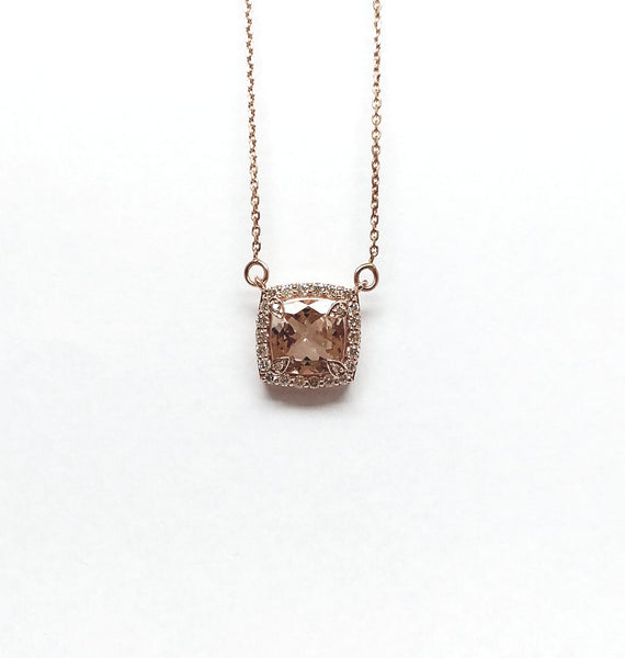 Cushion Cut Morganite and Diamond Pendant AD NO: 2068