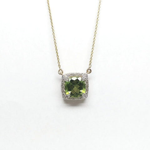 Cushion Cut Peridot and Diamond Pendant AD No: 2088