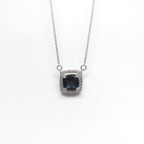 Cushion Cut London topaz and Diamond Pendant AD NO: 2072
