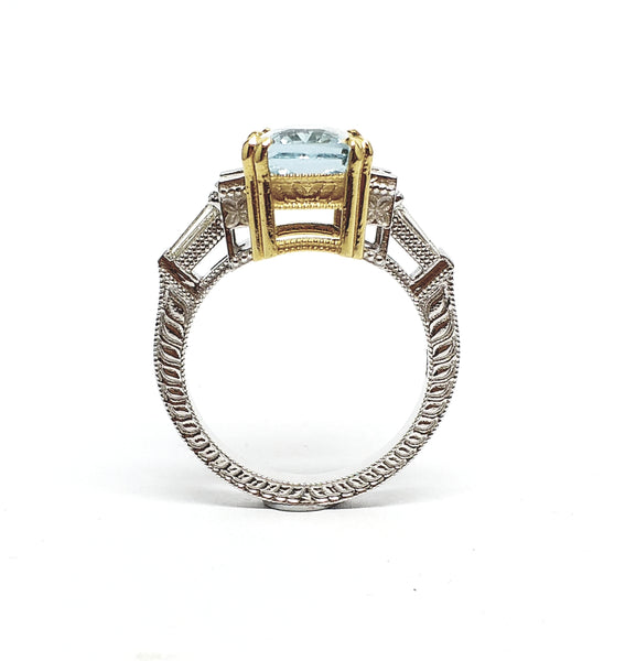 Hand-Engraved Aquamarine and  Diamond  Ring
