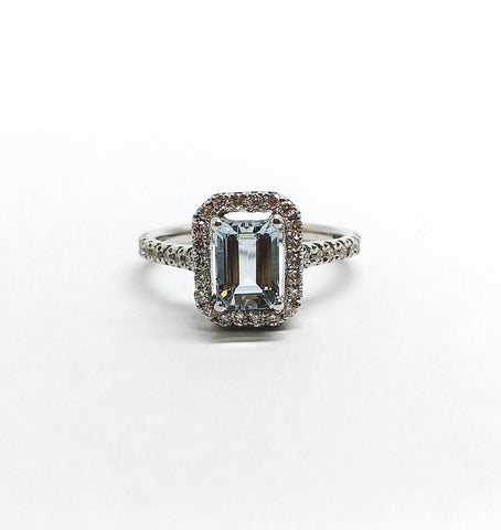 Emerald Cut Aquamarine Ring with Diamond Halo in 14k white Gold,AD NO 2106