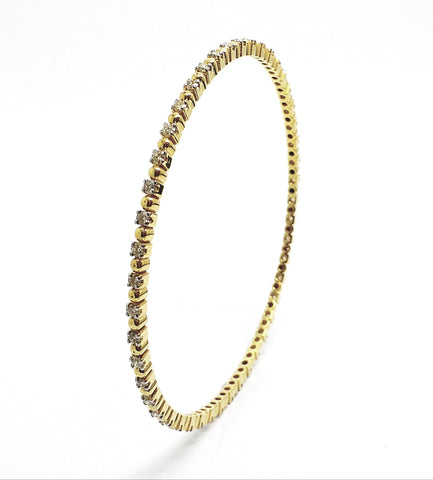 Gold Bead and  Diamond Bangle in 14k Yellow Gold (1.49 ct. tw.) AD NO 2108
