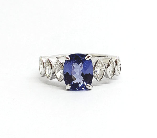 Tanzanite and Marquise  Diamond Ring AD NO. 2111