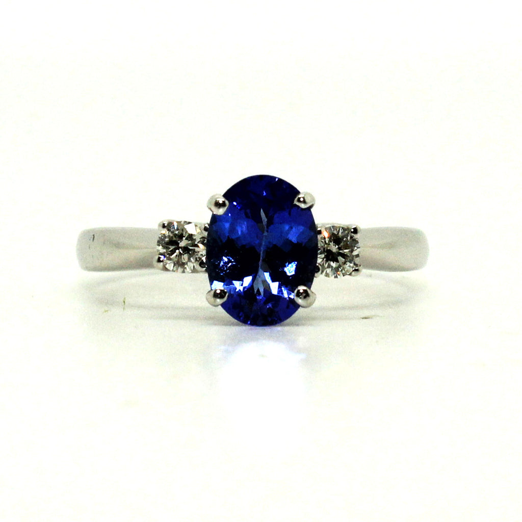 Tanzanite And Diamond Classic 3 Stone Ring Ad No. 0295