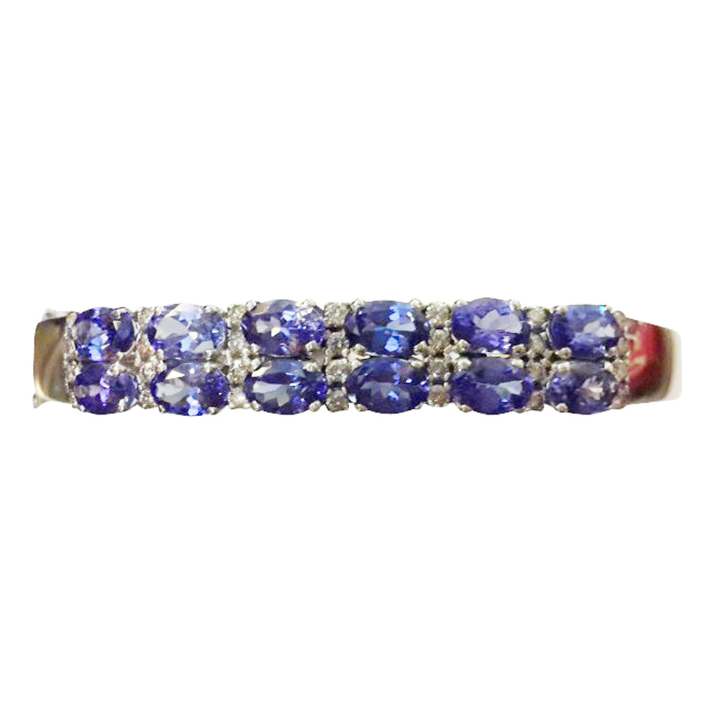 Double Row Tanzanite & Diamond Bangle