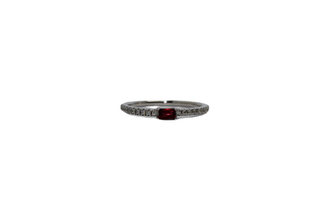 Baguette Ruby and Diamond Pavé Stacking Ring