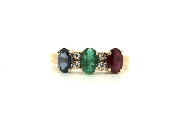 Multi-color Precious 3 Stone Ring Ad No.0485