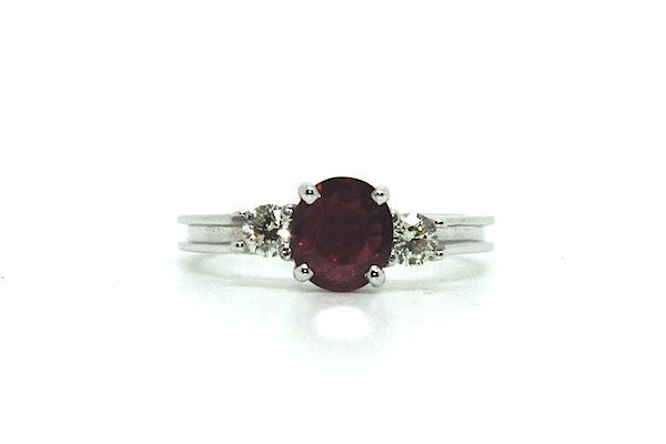 Ruby & Diamond Classic 3 Stone Ring Ad No. 0830