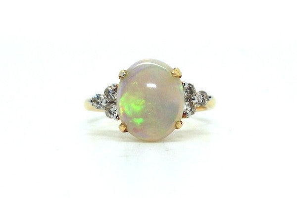 Opal And 6 Diamond Ring Ad No.0378