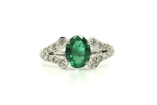 Emerald And Diamond Split-cart Ring Ad No.0468