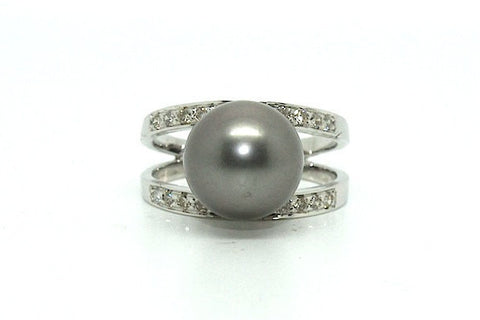 Tahition Pearl & Diamond Parallel Ring Ad No. 0879