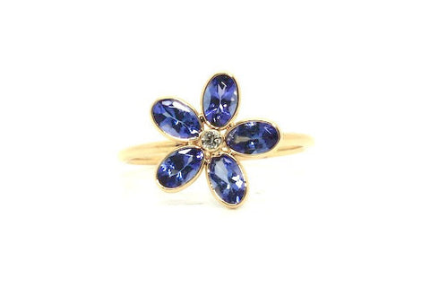 Tanzanite Flower Ring Ad No.1111