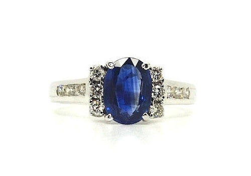 Blue Sapphire & Diamond Hot Cake Ring AD No. 0406