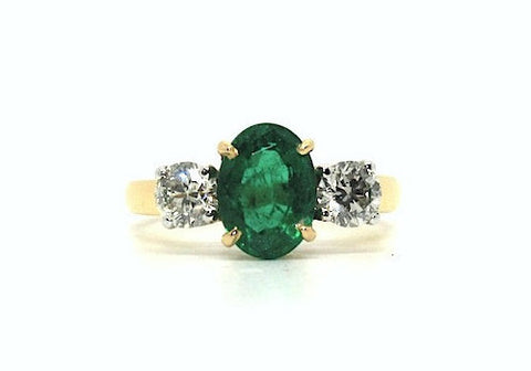 Emerald & Diamond Classic 3 Stone Ring AD No. 0418