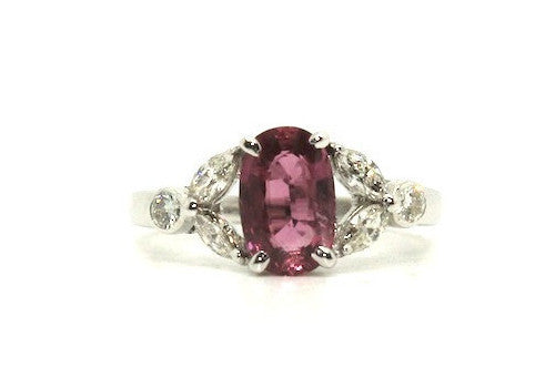 Pink Sapphire & Marquee Diamond Ring / Item Code: RNG 4