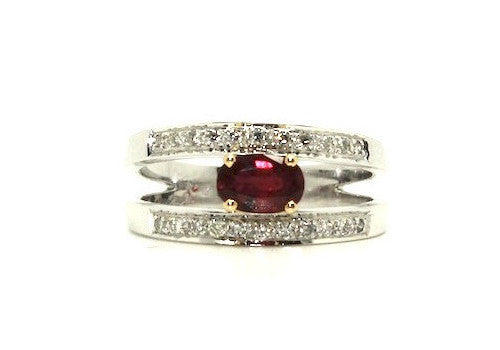 Ruby & Diamond Parallel Ring AD No. 0484