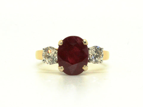 Ruby & Diamond Classic 3 Stone Ring AD No. 0467
