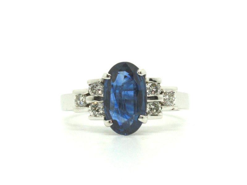 Blue Sapphire & Diamond Channel Ring Ad No. 0479