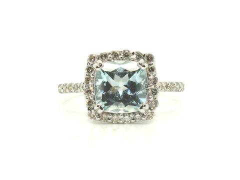 Aquamarine & Diamond Cushion Cluster Ring/ Item Code: RNG 2