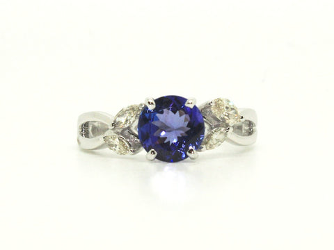 Round Tanzanite & Marquee Cut Diamond Ring AD No. 1078