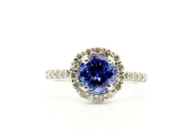 Round Tanzanite & Halo Diamond Ring AD No. 1003