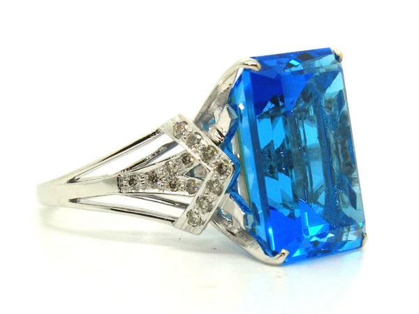 Blue Topaz & Diamond Arrow Ring /Item code: RNG 10
