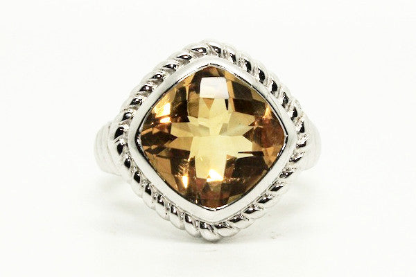 Citrine Rope Silver Ring