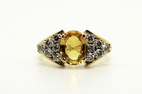 Yellow Sapphire And Diamond  Ring/ Item Code: RNG 4