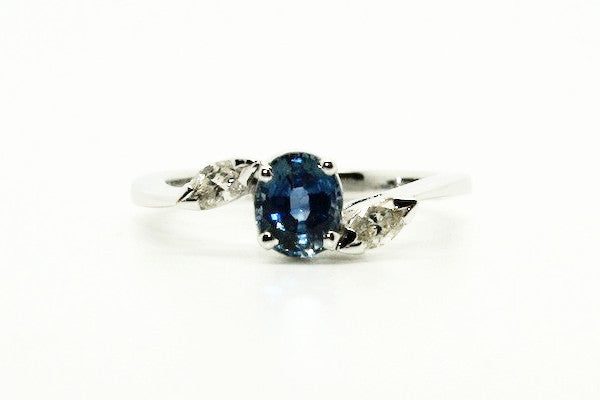 Blue Sapphire And Marque Diamond Ring Ad No.1129
