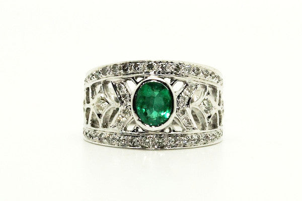 Emerald & Diamond Jali Ring AD No. 0311