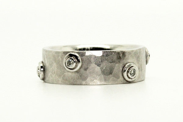 Matte Hammered Diamond Band Ring