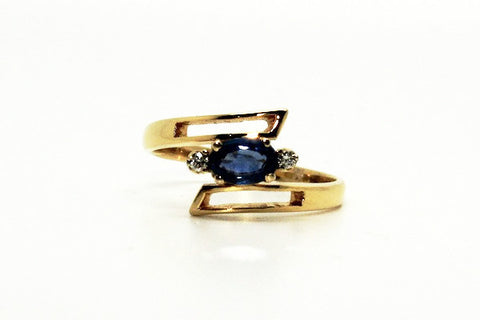 Blue Sapphire And Diamond Jali Ring Ad No.1125