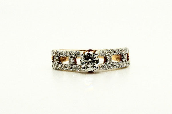 Milgrain Diamond Yellow Gold Ring AD No. 0433