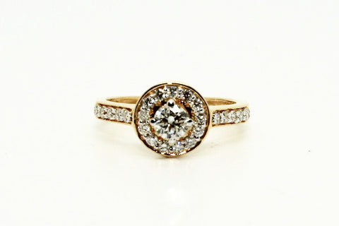 Diamond Halo Ring In Yellow Gold AD No. 0434