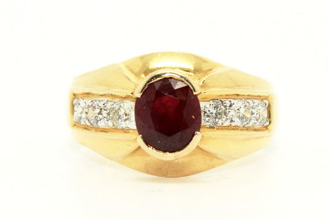 Ruby And Diamond Pave Mens Ring Ad No.1124